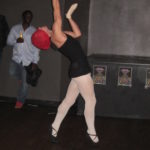 male dancing in pantyhose blindfolded - boy in tights posing
