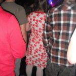 woman in white pantyhose in a club - weird and rare sight