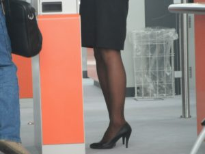 dark chocolate pantyhose in the airport