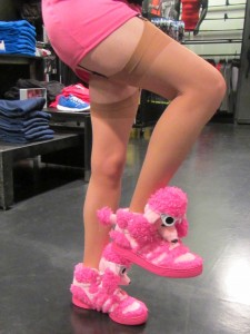 Vegas adidas limited edition poodle shoes and my legs in beige stockings