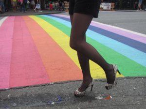 Davie street rainbow pavement for Vancouver Pride Week 2013