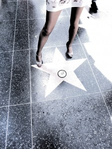 wearing Idalia pantyhose in Hollywood walk of fame star