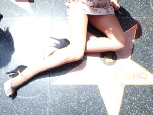 wearing Idalia pantyhose in Hollywood - my legs posing