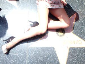 wearing Idalia pantyhose in Hollywood - my legs posing