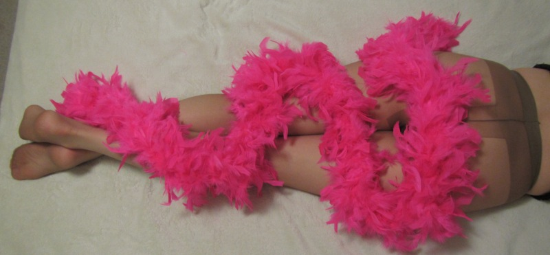 panoramic view of my pantyhose and feather boa - 6 den, Gatta, ultra sheer in tan shade
