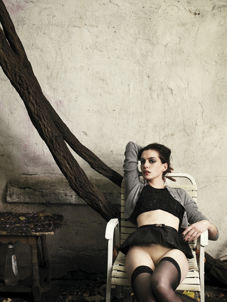 Anne Hathaway in black stockings photo by Marc Hom