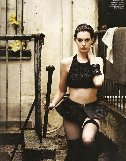 Anne Hathaway in black stockings
