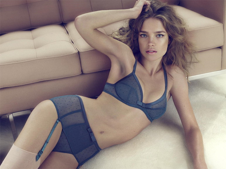 Natalia Vodianova Etam lingerie and stockings