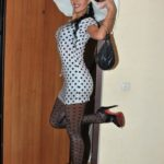 pantyhose model from waminstyle 1 - Polka dot dress and hose