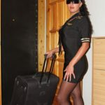 pantyhose model from waminstyle 4 - Karina is dressed like a flight attendant