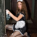 pantyhose model from waminstyle 6 - Masha is cleaning in a maid outfit in sheer black hosiery