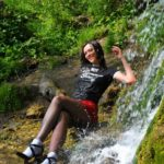 pantyhose model from waminstyle 7 - black sheer hosiery in a fountain and white socks