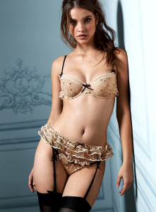 Barbara Palvin in beautiful lingerie with black stockings and garter belt