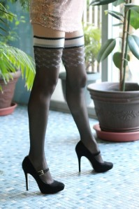 Daiva stay up stockings by Fiore worn with heels