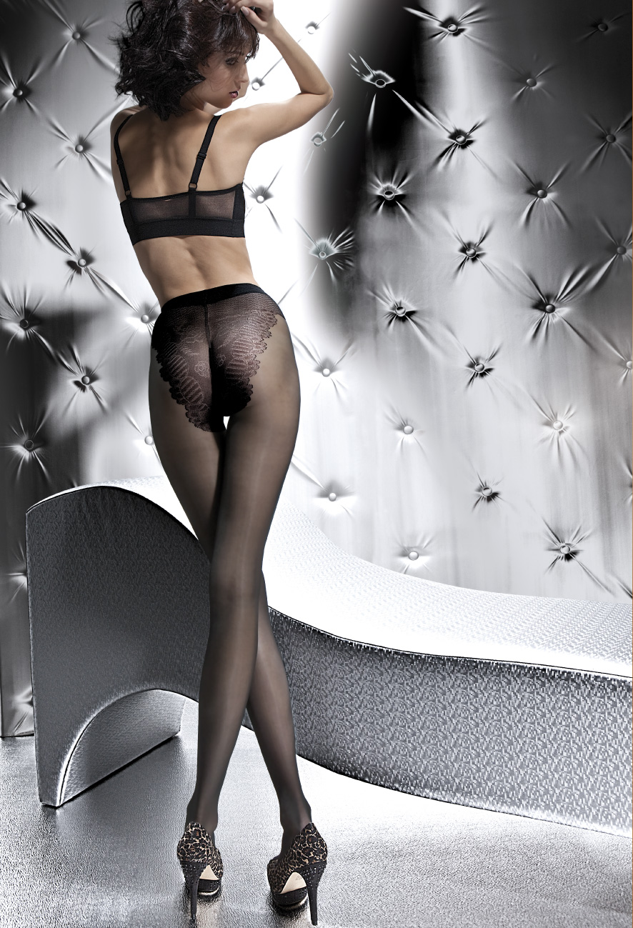KLARA 20 den french cut lace panty pantyhose by Fiore sheer to waist