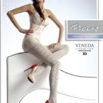 Fiore white tights opaque with pattern