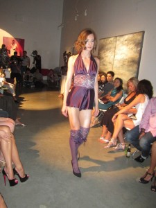 model in purple stockings at dolce amore fashion show