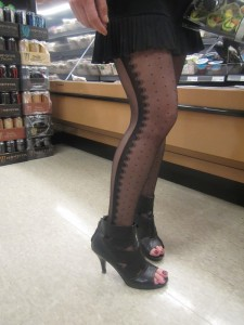 patterned toeless pantyhose