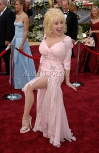 Dolly Parton in high heels and pantyhose