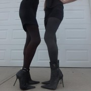 Abby tights by Fiore on me and cousin together graphite and chocolate 60 den 1