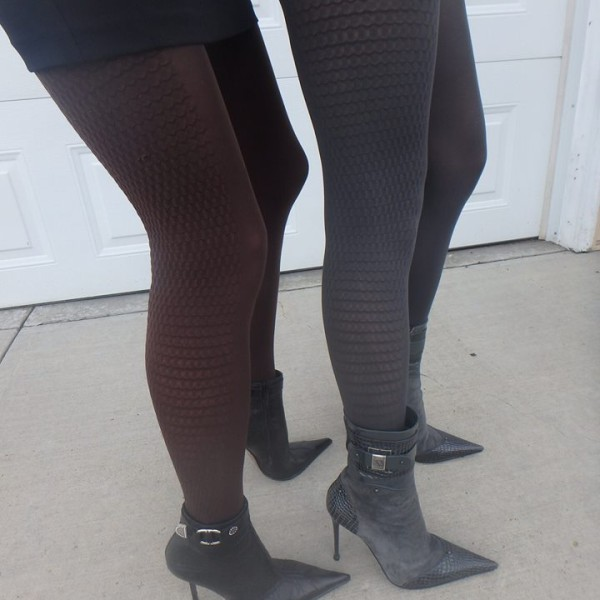 Abby tights by Fiore on me and cousin together graphite and chocolate 60 den 2