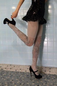 Bona over knee imitation tights grey pantyhose 2 Fiore