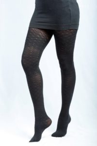 opaque hosiery for winter with fishbone pattern