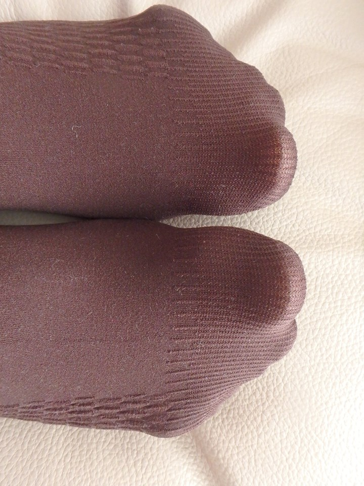 abby tights on my legs in chocolate reinforced toe