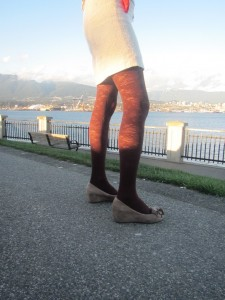 inga pantyhose by Fiore brand, posing in Vancouver