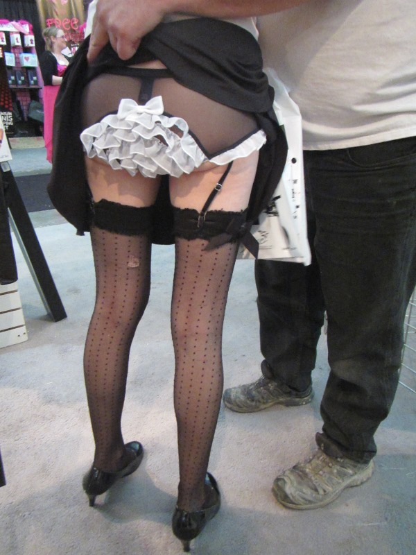 Stockings and frilly panties upskirt shot - boyfriend and girlfriend together at a show