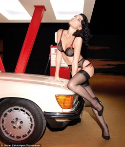 Crystal Renn in stockings
