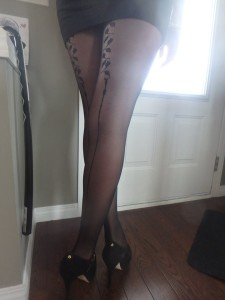 Galis backseam tights by Fiore on cousin's legs modeling 2