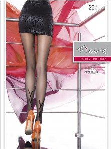 HELIA 20 den sheer tights by fiore with a geometrical pattern at the back