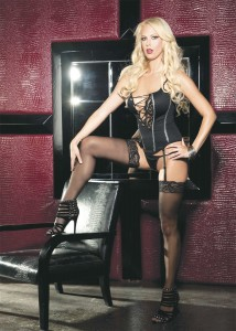 9510 shirley of hollywood black bustier with stockings