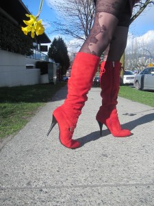 red boots and Fiore pantyhose