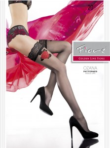 OZANA 20 den stay up stockings from Fiore - red rose hold up hosiery - limited edition
