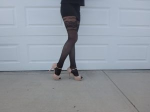 Vaila tights by Fiore on cousin's legs modeling