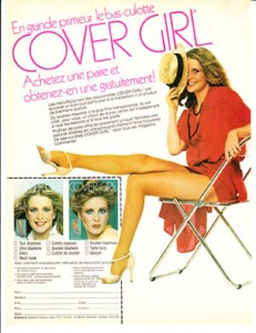 cover girl pantyhose brand advertisement Montreal Quebeck Siebruck hosiery
