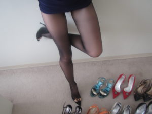 selection of my used shoes for sale and pantyhose