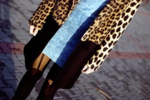 blogger in Milla tights by Fiore with mock stocking imitation pattern 2