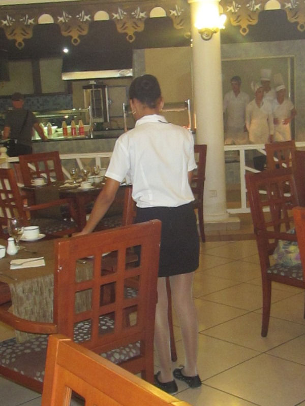 cuban waitress in pantyhose cuba buffet hotel resort vacation
