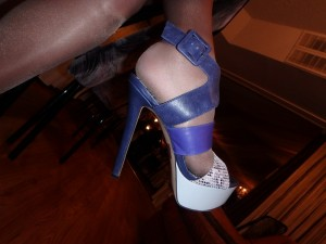 my foot in Jessica Simpson shoes and pantyhose  - cool!