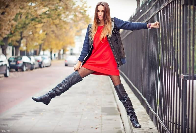 tall boots and dezire pantyhose by fiore hosiery on a model 2