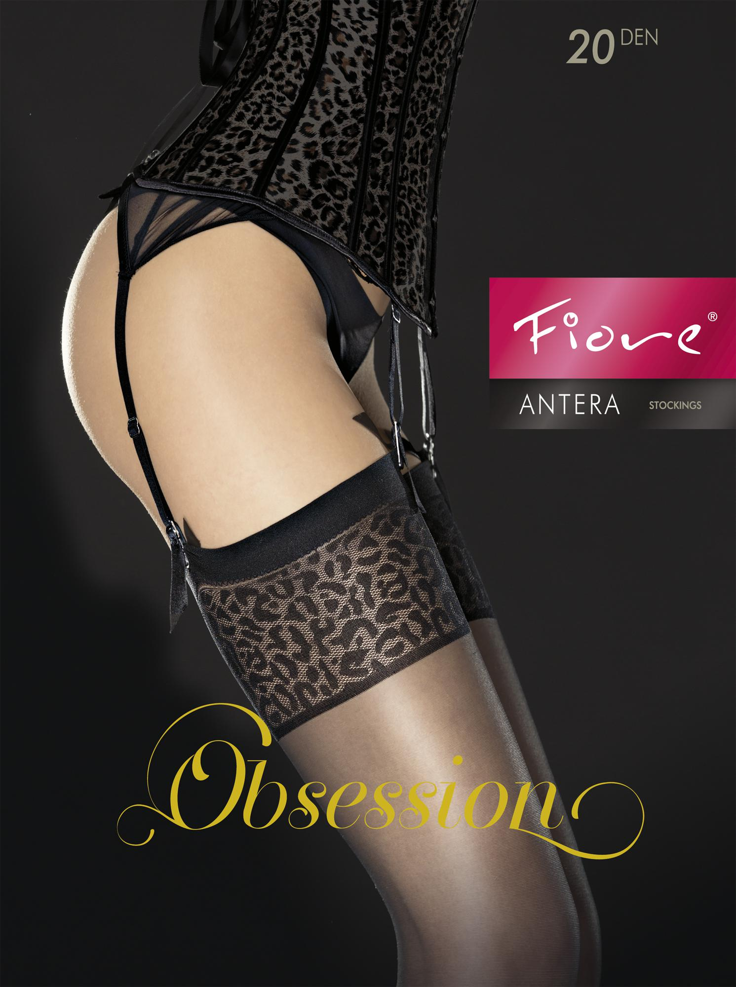 ANTERA 20 den belt stockings by Fiore with leopard print top