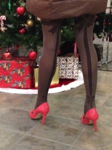 pantyhose with bows and backseam in brown