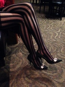 victoria secret striped pantyhose