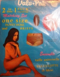 Vintage One Size Valu-Pak 2 in 1 matching set Pantyhose and Nylon Briefs