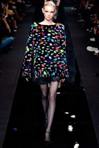 polka dot sheer tights on the catwalk