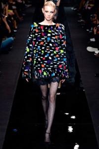 polka dot sheer tights on the catwalk