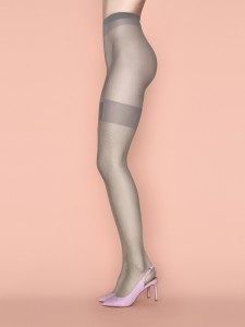 HONEY BEE 20 den grey tights with stocking imitation